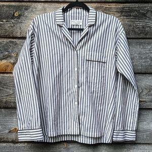Nili Lotan Lauren Shirt Tan White Vertical Stripe